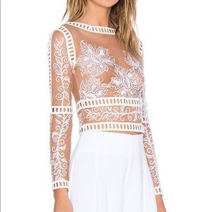 For Love & Lemons Desert White Crop Top Size XS